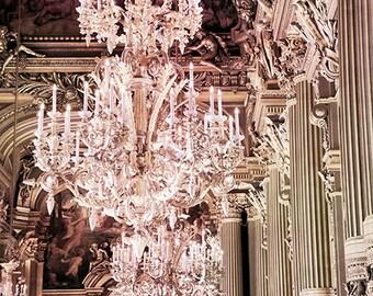 Paris Chandelier Prints, Paris Photography, Paris Opera Crystal Chandeliers, Paris Opera House Opulent Chandelier, Paris Chandelier Wall Art