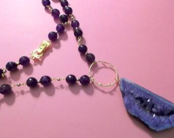 Huge Purple Agate Geode Druzy