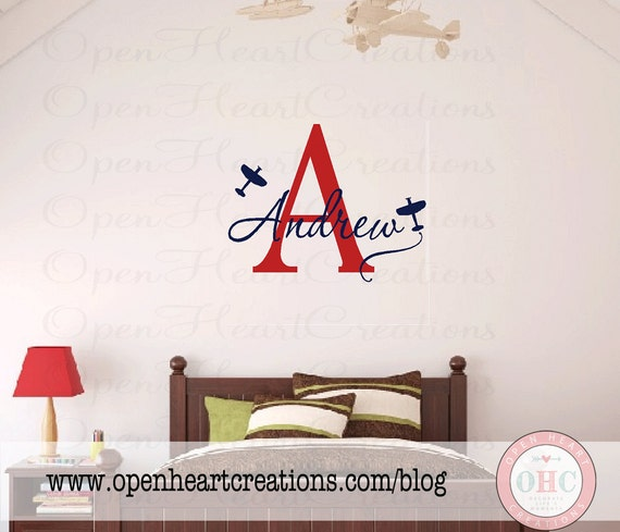 Airplane Wall Decals - Initial and Name Monogram Wall Lettering for Baby Boy Nursery - Transportation Nursery Room Theme 22H x 32W INA0027
