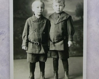 Cute Little Boys - Brothers - Knickers - Boots-Suits - Real Photo Postcard -early 1900's