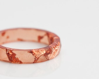Cinnamon Resin Ring Stacking Ring Pink Gold Flakes Small Faceted Ring OOAK burnt orange