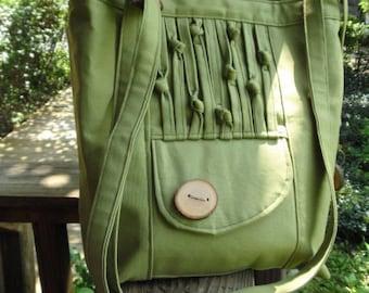 Vegan Tote, Olive Green Cotton Canvas, Eco-Friendly Purse, Shoulder Bag, Handbag, 8 large pockets