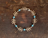 Fishspine Chain Bracelet - Choose A Color -  Fishbone Totem Creek Chevron Bracelet by Prairieoats
