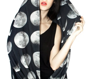 Oversized Moon Phase Circle Scarf, Infinity Scarf, Cowl Scarf