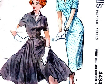 """RARE *  1950's McCall's Pattern 4434 - GLAMOROUS Wiggle Dress with Open Front Overskirt - Bust 36 - """"easy to sew"""""""