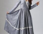 Gray dress elegant woman prom dress custom made maxi dress with lace detail (807)