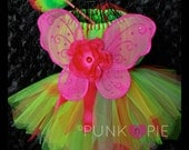 Fairy Tutu Dress Rosie Posie Lime green and pink Perfect for Birthdays & Dress up Infant - 5t