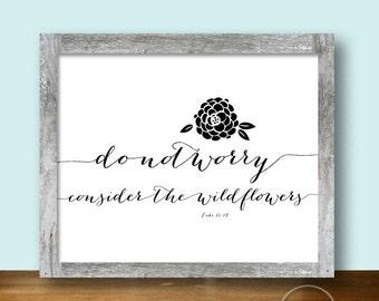 Wildflowers Bible Passage Art - Christian Printable