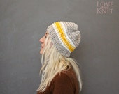 Unisex Knit Beanie Mens Winter Beanie Womens Hand Knitted Beret One of a kind Knit Hat Grey Yellow White Striped Sport Beanie Hipster Hat