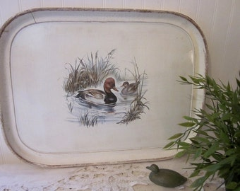 Vintage Lake House decor. Large rustic duck tray, made in Italy. Perfect for serving, display, or stop an ottoman. Neutral colors.