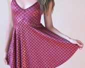 Vintage Swimsuit / Bathing Suit / one piece skirt with a skirt / maroon dress