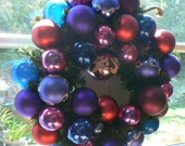 Berry Merry Christmas Wreath Vintage Shiny Brite Glass Ornaments