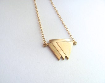 Long triple triangle pendant necklace on 14k gold plated chain, brass vintage triangle pendant,  geometric jewelry