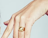 Granulated Signet Dome Metakwork Ring- in Sterling Silver or Gold Plated