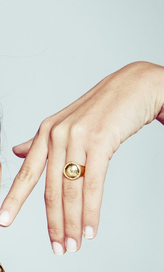 Gold Signet Ring Gold Dome ring Pinky ring Gold Signet Ring