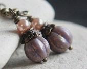 Purple Melon-Shaped Czech Glass Bead Earrings - A.371