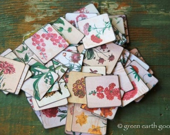 "Vintage Flower Stickers, 1.5"" or 2"" squares, Vintage Flower illustrations, botanical stickers, floral stickers, 100% recycled & eco-friendly"