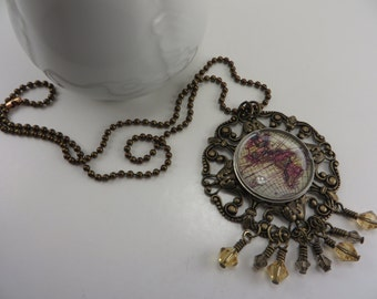 Vintage Map Necklace Crystals Watch Case Filigree Victorian Steampunk Free Shipping