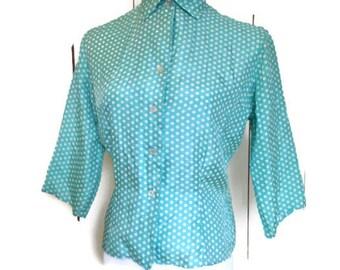 Vintage 1950s Silk Blouse,  turquoise polka dot, mad men,  sz 16 , Rockabilly,  bust 42