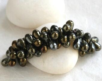 SALE - 9x6mm Teardrop Beads - Jewelry Making Supplies - 6x9mm Tear Drop Beads - Brown Iris Metallic (50 pieces) SALE - Buy 2 get 3. (150)