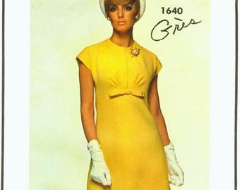 60s GRES Mod A Line Dress Pattern Vogue Paris Original 1640 Vintage Sewing Pattern Size 10 Bust 31 inches