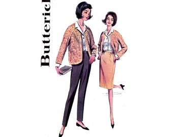 60s Cardigan Pants Blouse Skirt Pattern Vintage Sewing Pattern Butterick 2850 Size 16 Bust 36 UNUSED Factory Folded