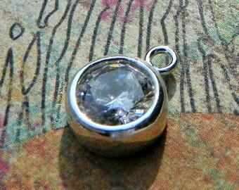Bezel Charm with 6mm CZ Crystal - SALE