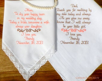 Wedding Gift Embroidered Wedding Hankerchiefs Parents Wedding Gifts Mother of the Bride and Father of the Bride Wedding by Canyon Embroidery