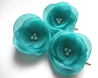Aqua Hair Flowers Wedding Hair Accessories blue Bridal Hair Pins Aqua Flower Weddings turquoise