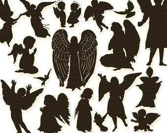 Guardian Angel Clip Art, Christian Graphic Supplies, Angel Silhouettes, Easter Digital Design Images, Church Newsletter ClipArt