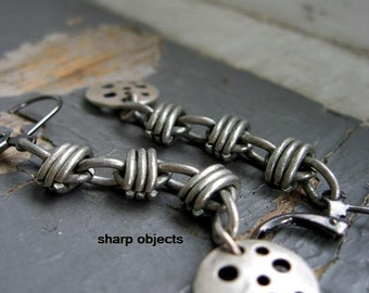 Barb - matte silver metalwork, barbed wire dangle earrings & drilled ingot tag charm
