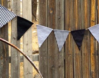 Black, Grey Gray And Black Ginham Fabric Garland Banner Bunting Pennant Flags Reusable Party Decorations by InYourBones