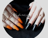 Bengal Tiger Orange with Black Nail Blanks DIY Kit Long Almond Style length nails full coverage fake fingernail tips mixed match set w/glue