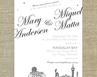 Las Vegas Skyline Wedding invitation; SAMPLE ONLY
