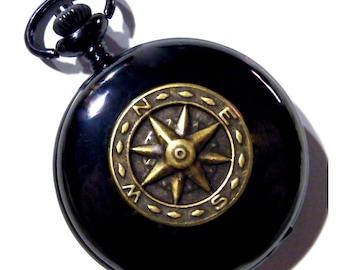 Pocket Watch Compass Steampunk Black Golden Brass Necklace or Chain Fob