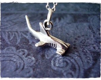 Silver Hammerhead Shark Necklace - Sterling Silver Hammerhead Shark Charm on a Delicate Sterling Silver Cable Chain or Charm Only