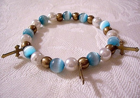 Blue White Moonstone Cross Charm Bracelet Antiqued Gold Tone Vintage Stretch Round 6mm Beads Pearl Satin Accents