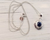 Sapphire Necklace, Sterling Silver Dainty Blue Sapphire Pendant on Chain, Bridal Necklace Sapphire Jewelry September Birthstone Gift for Her