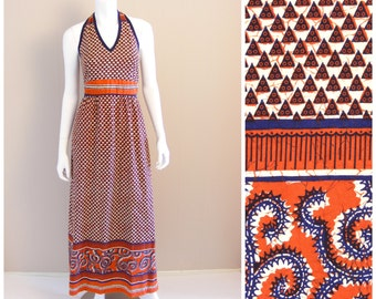 Vintage Batik print cotton halter neck maxi dress by HEARSAY. 1960s Ethnic tribal print.