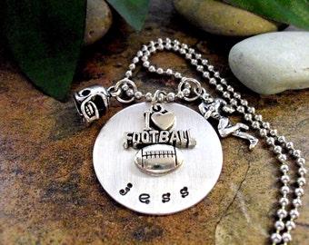 Football Jewelry, Personalized Football Necklace, Football Necklace, Sports Jewelry, I Love Football