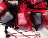Red and Black Wedding Favors - 65 Wedding Favor Bubble Wands with Bubbles - Choose Your Colors - 100% Handmade in USA