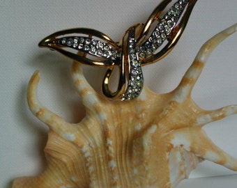 Vintage 80's Goldplated Brooch with Swarovski Flight of Delight