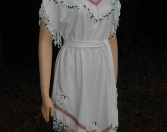 D116     American Indian Beaded Dress Halloween Costume  Women's Sizes
