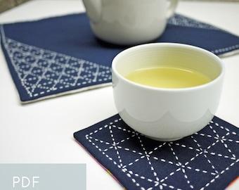 PDF sashiko pattern - - sankaku triangles - - modern Japanese hand embroidery
