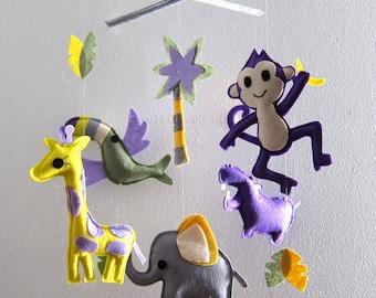 "Baby Crib Mobile - Baby Mobile - Rainforest  handmade Mobile - ""Little Monkey in the Dark rainforest"" (Pick your color)"