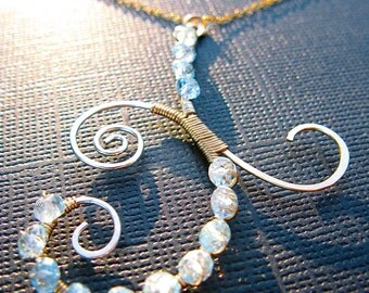 Blue Topaz Abstract Necklace, Wrapped in Sterling Silver & Gold Filled Wire, Your Choice of Gemstone, Mixed Metal Pendant
