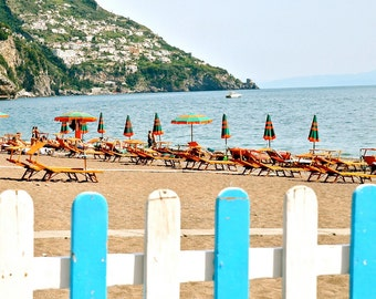 Amalfi Photography - Italian Beach Print Turquoise Orange Home Decor  Mediterranean Decor Italy Photo Summer Travel Cottage Wall Art