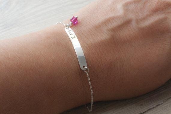 Custom Personalized Initials Bracelet, Hand Stamped Bar Bracelet, Greek Letters, Name Silver Bracelet, Friendship Bracelet Personalized Gift
