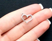 8 Heart Charms Antique  Silver Tone with Classic Design - SC2510