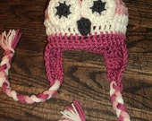 Owl Hat with earflaps crochet pink ivory white- newborn to 18 month sizes-